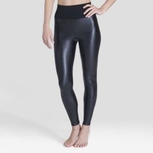 NWOT Assets by Spanx black faux leather leggings